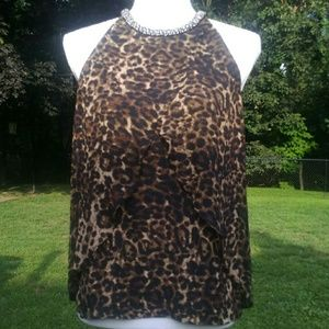 Jeweled Leopard Halter Blouse S